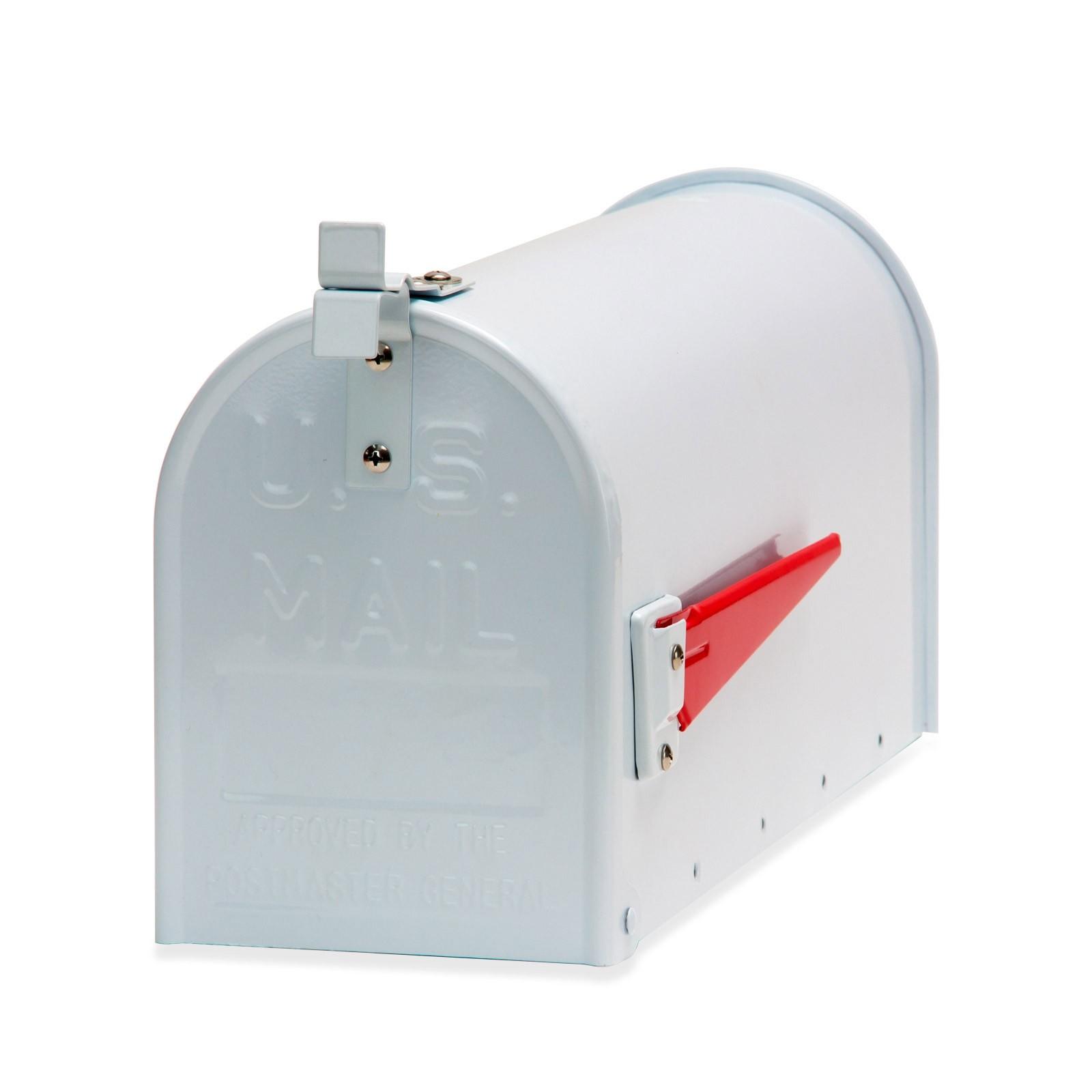 amerikanischer briefkasten american mailbox zeitungsrolle postkasten alu wei ebay. Black Bedroom Furniture Sets. Home Design Ideas