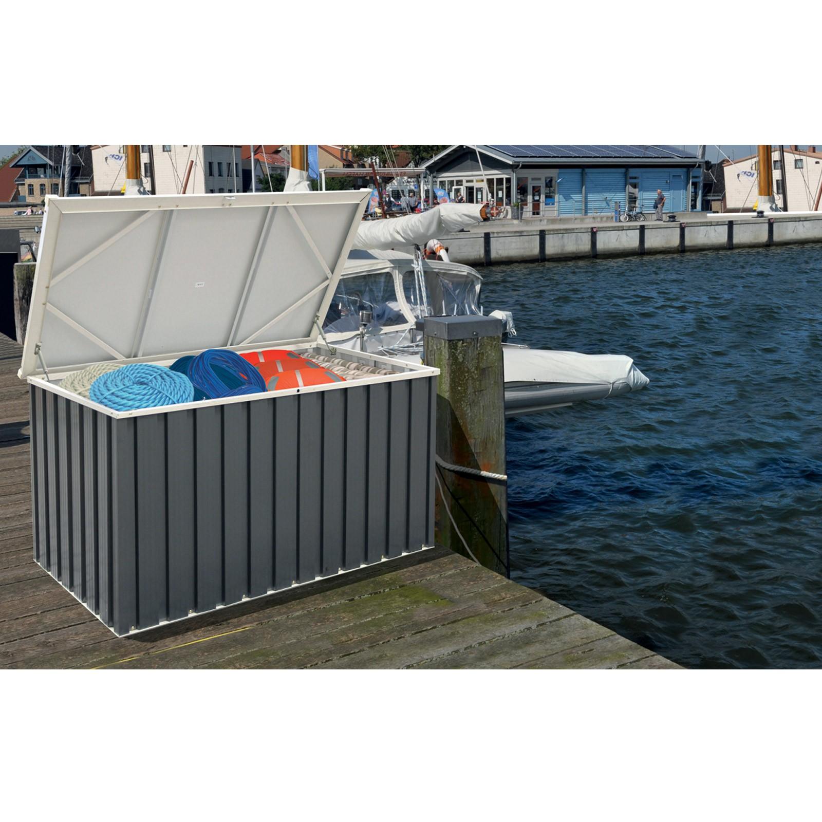 keter metall ger tebox auflagenbox kissenbox gartenbox aufbewahrungskiste 135x70 ebay. Black Bedroom Furniture Sets. Home Design Ideas