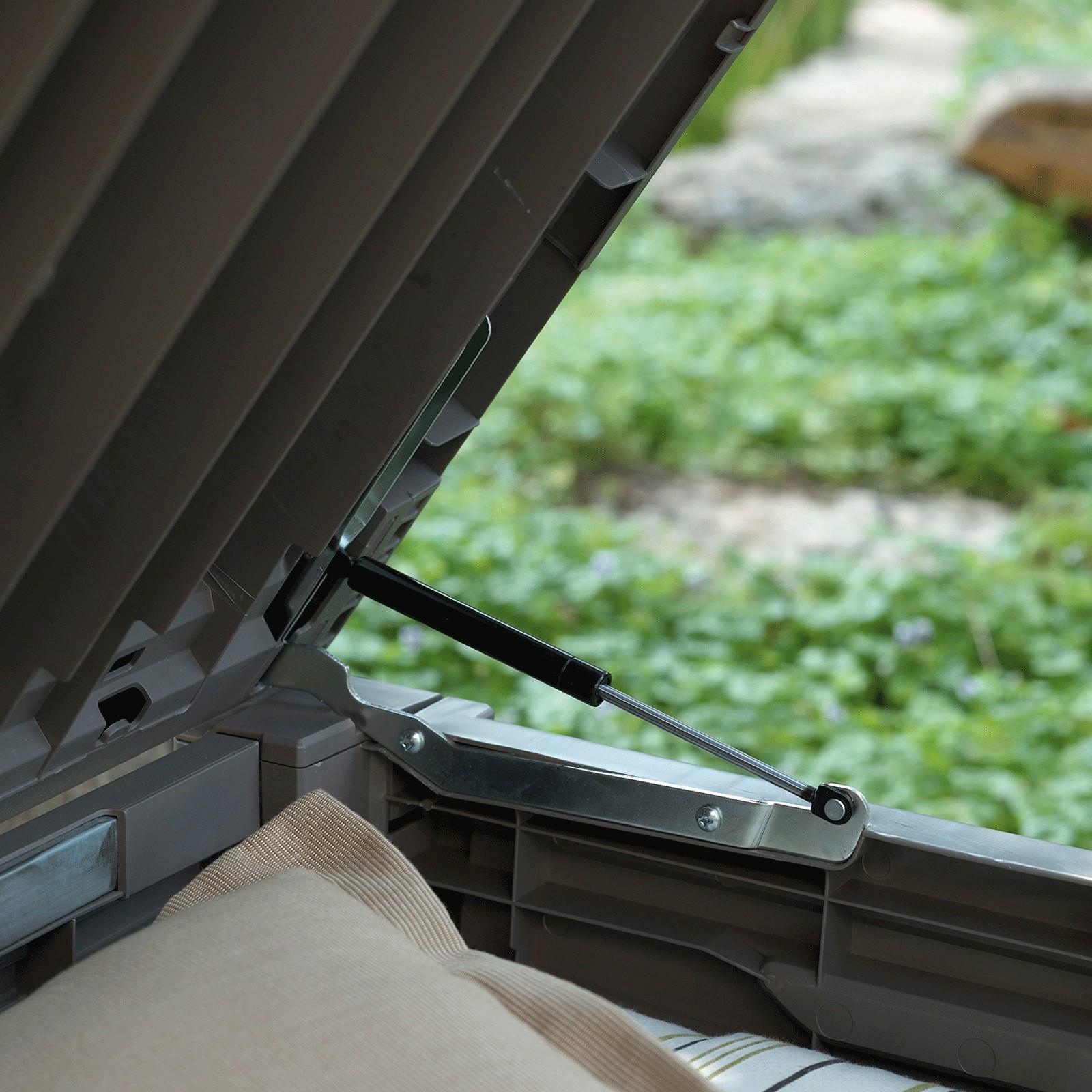 keter garten box aufbewahrungsbox kissenbox auflagenbox brightwood 455 l truhe. Black Bedroom Furniture Sets. Home Design Ideas
