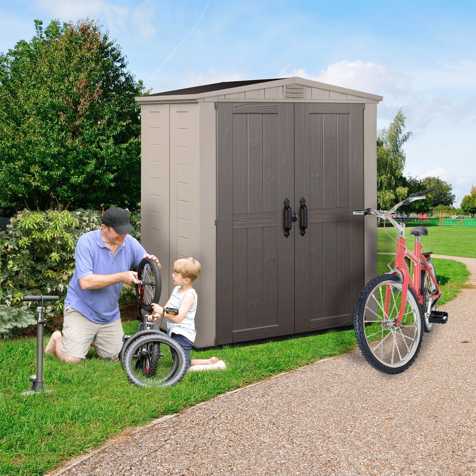 keter gartenhaus factor 6x3 kunststoff ger tehaus. Black Bedroom Furniture Sets. Home Design Ideas