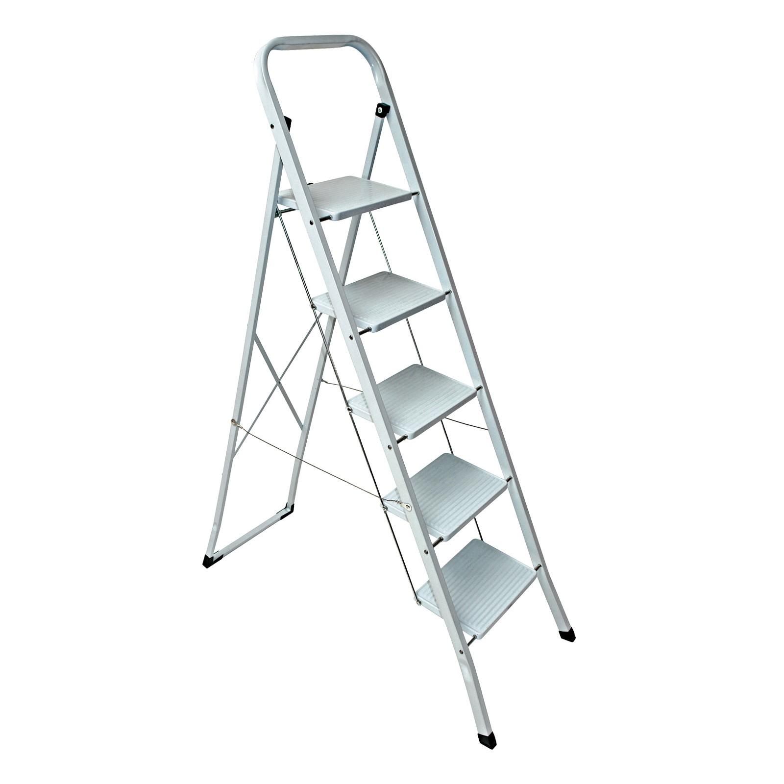stahl haushaltsleiter klapptritt stehleiter 2 3 4 5 stufen leiter auswahl. Black Bedroom Furniture Sets. Home Design Ideas