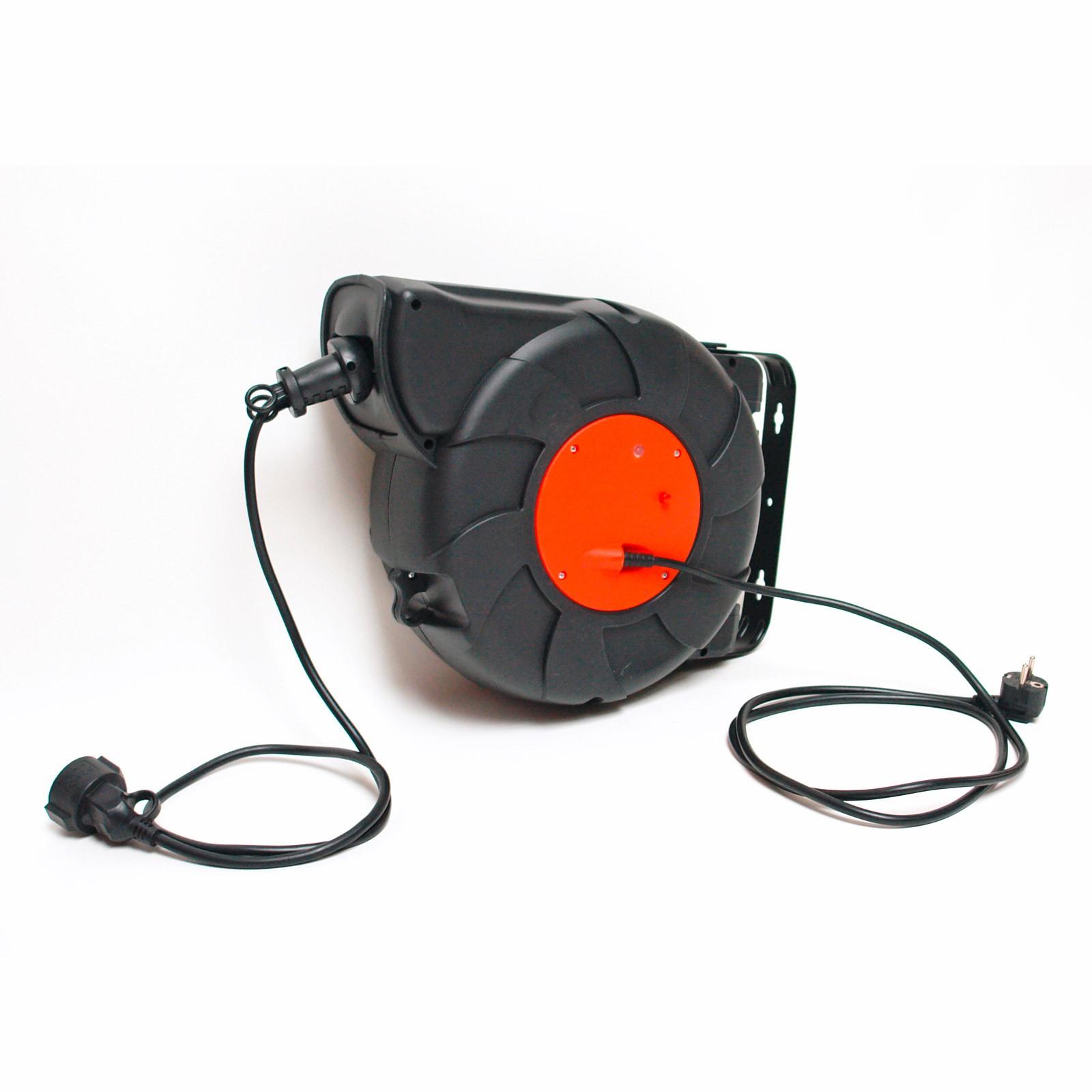 automatik kabeltrommel kabelaufroller verl ngerungskabel kabelrolle kabelbox 24m ebay. Black Bedroom Furniture Sets. Home Design Ideas