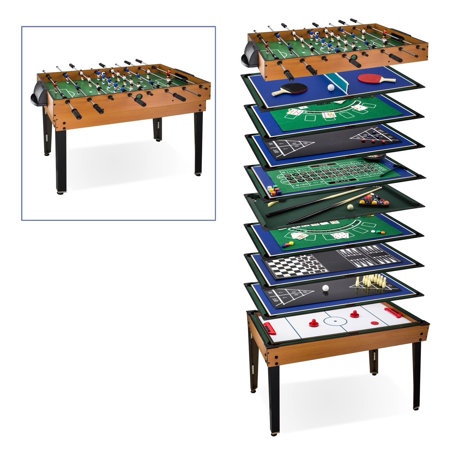 Multi spieltisch 15 in 1 tischkicker billard bowling u for Table de multi