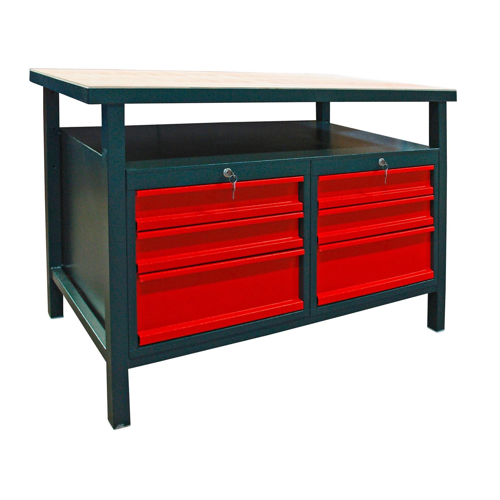profi werkbank werktisch arbeitstisch mit 6 schubladen anthrazit ebay. Black Bedroom Furniture Sets. Home Design Ideas