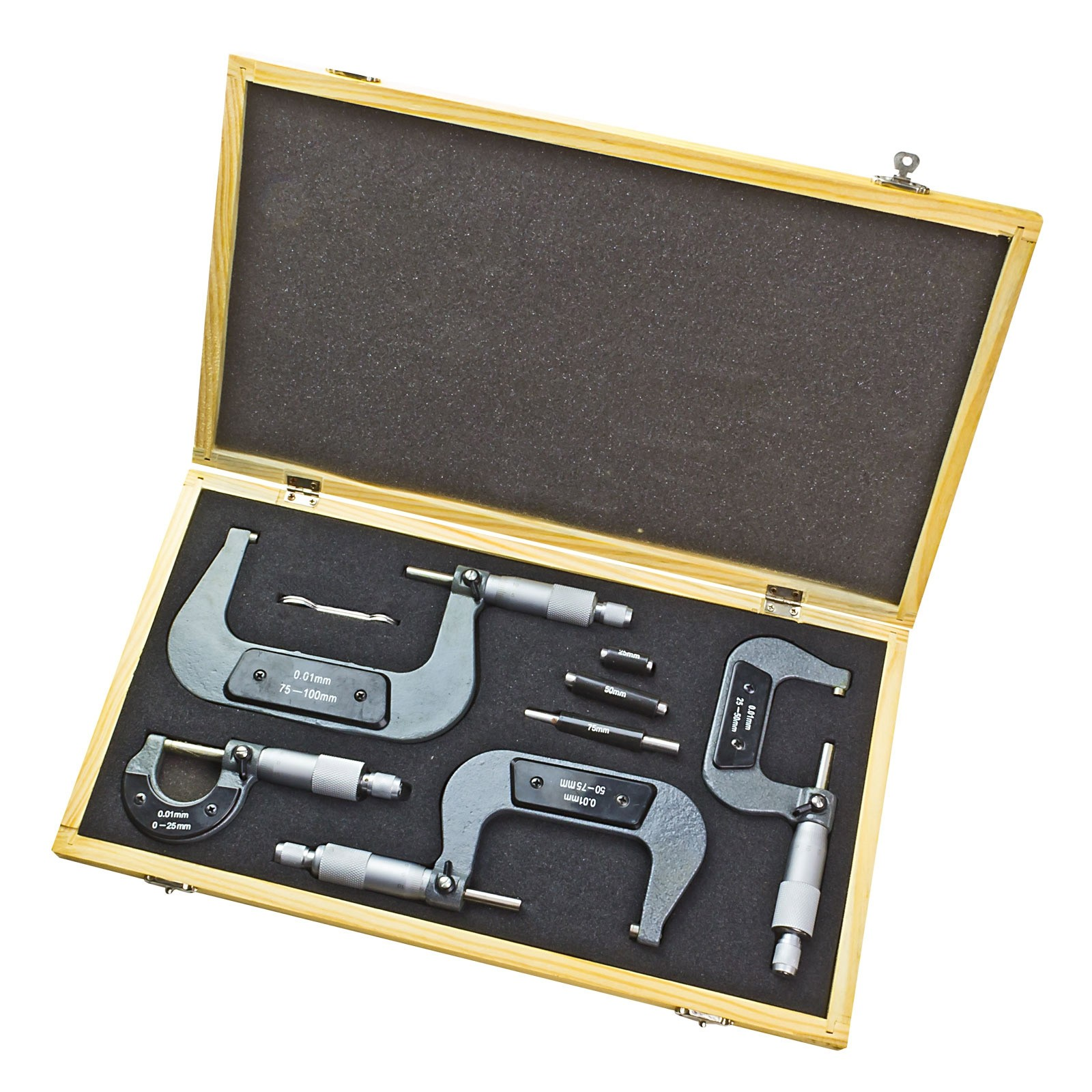 mikrometer b gelme schraube micrometer messschraube set 4 teilig im holzkoffer ebay. Black Bedroom Furniture Sets. Home Design Ideas