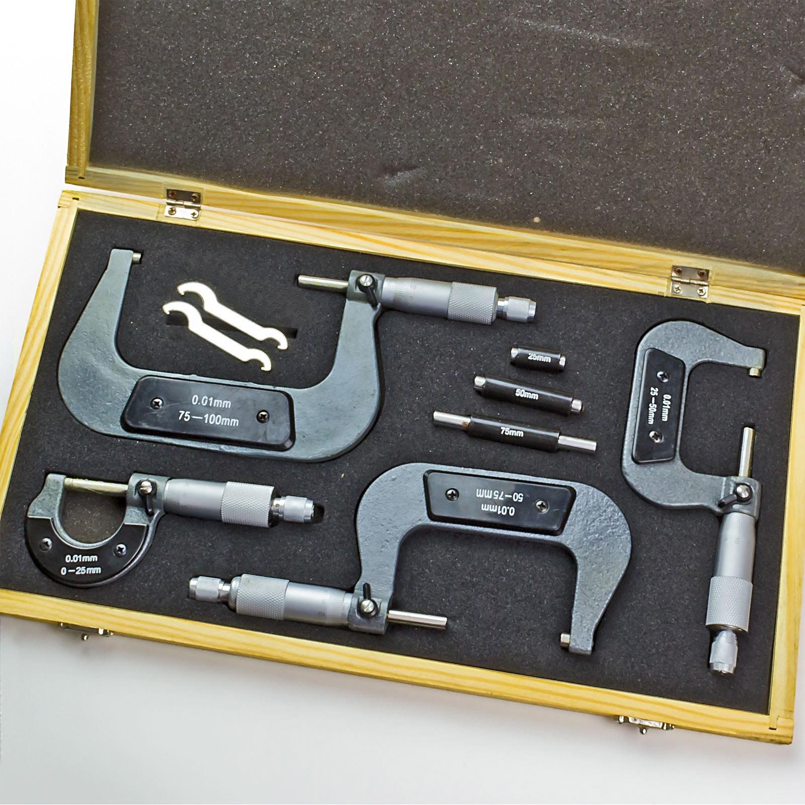 mikrometer b gelme schraube set 4 teilig im holzkoffer. Black Bedroom Furniture Sets. Home Design Ideas
