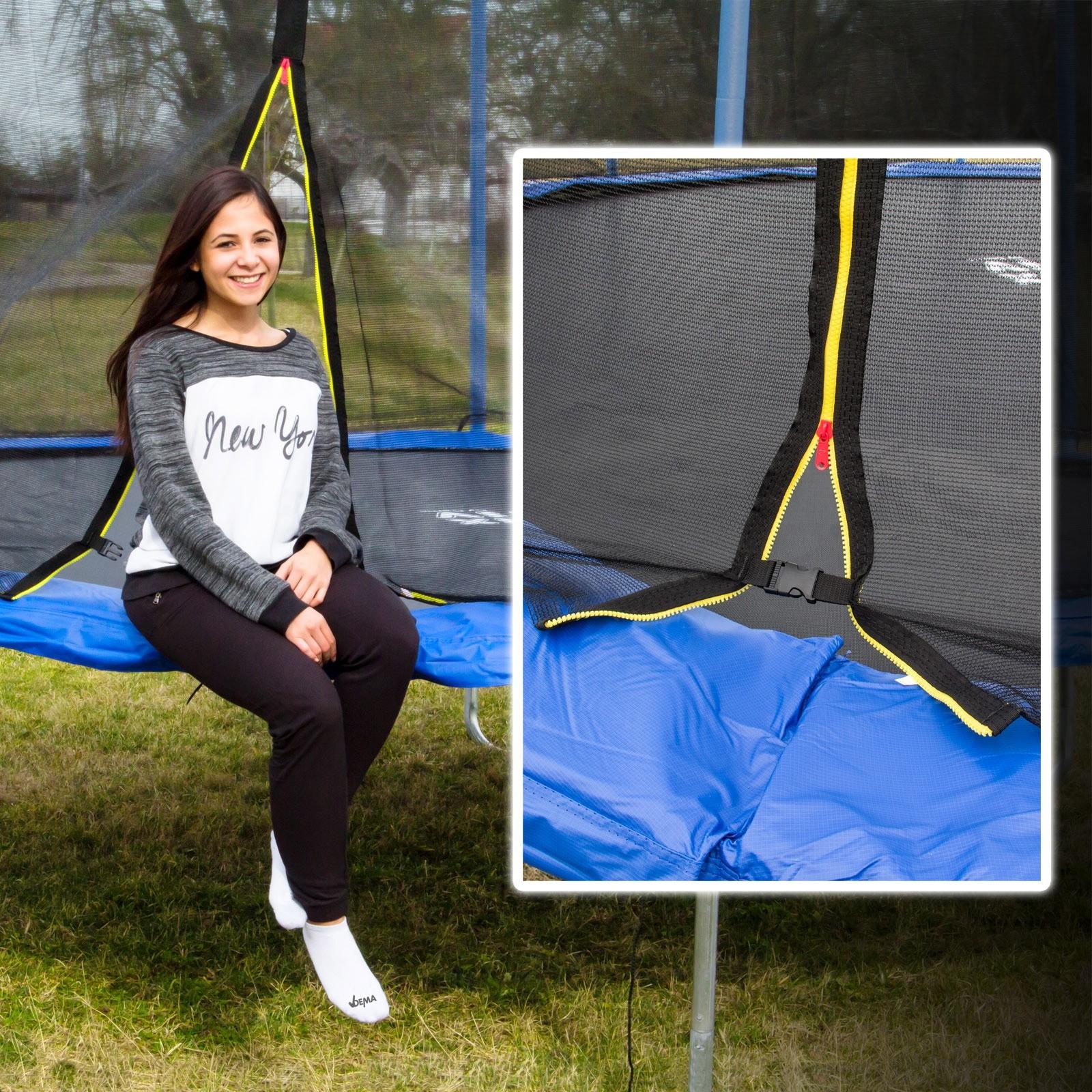 riesen trampolin gartentrampolin xxl 426 cm mit sicherheitsnetz. Black Bedroom Furniture Sets. Home Design Ideas