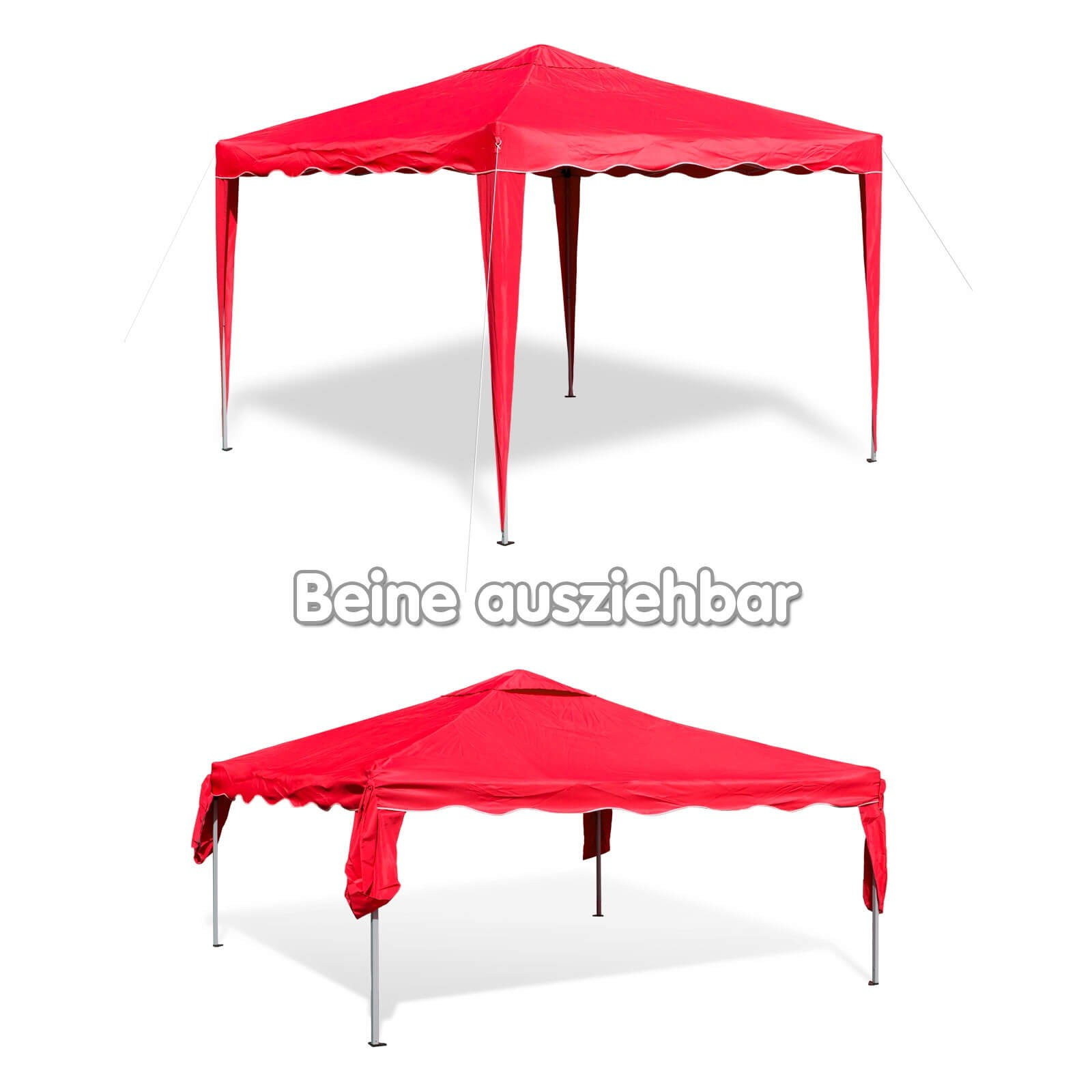 gartenpavillon faltpavillon alu metall 3x3 m rot gartenzelt partyzelt pavillon ebay. Black Bedroom Furniture Sets. Home Design Ideas