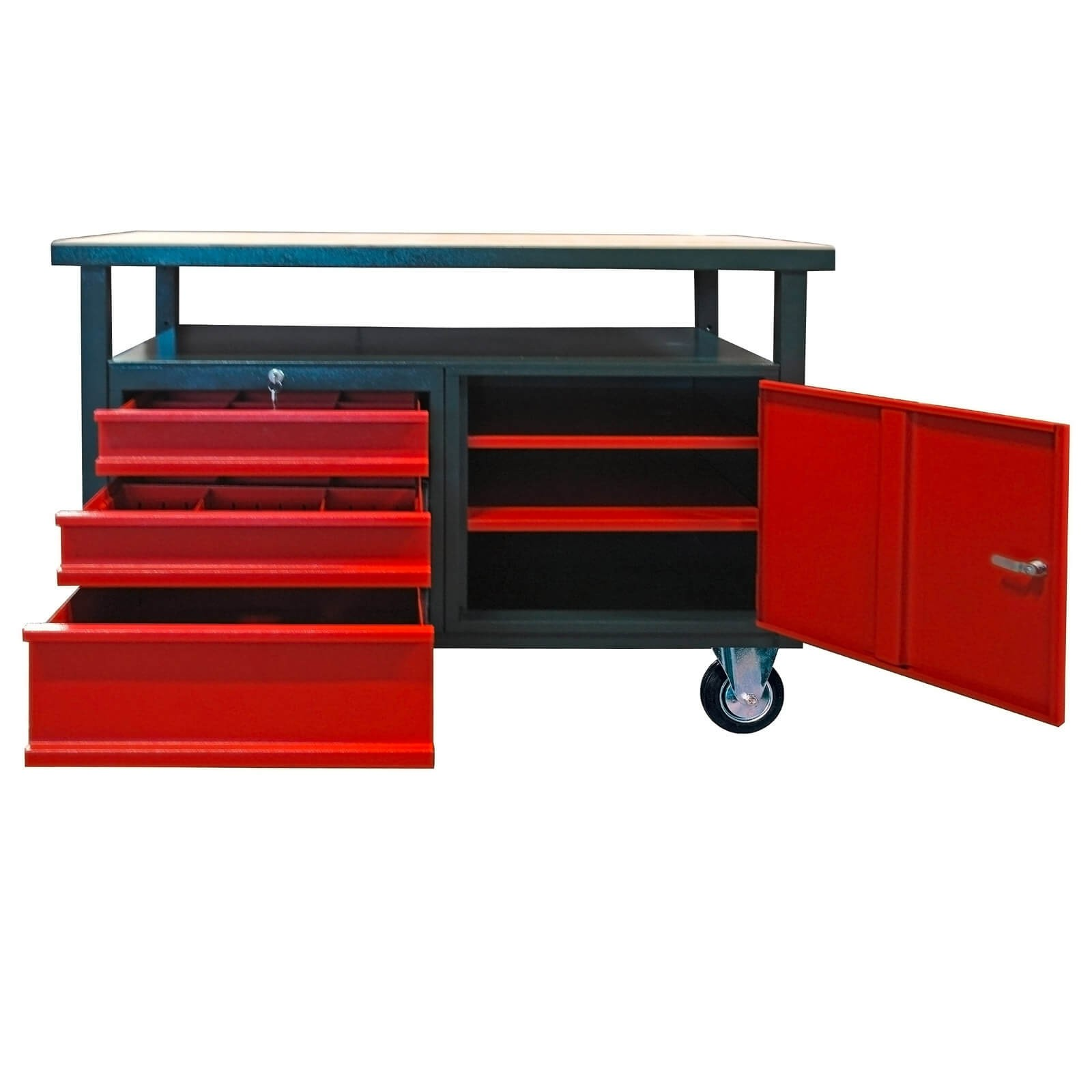 werkbank werktisch arbeitstisch 3 schubladen 1 t r mit rollen fahrbar ebay. Black Bedroom Furniture Sets. Home Design Ideas