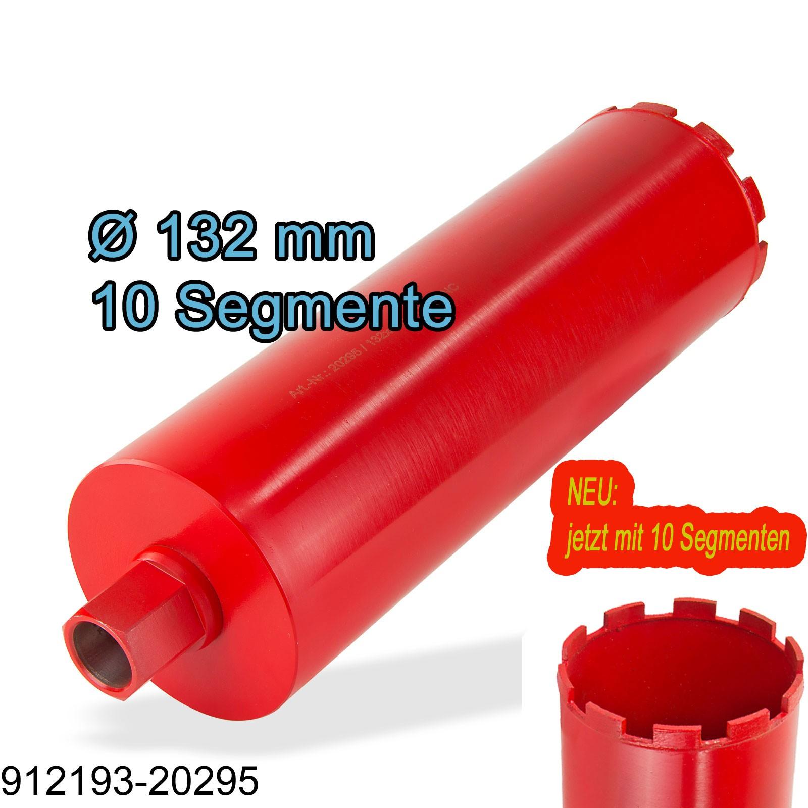 132 mm Diamantbohrkrone mit 11 extra hohen Segmenten