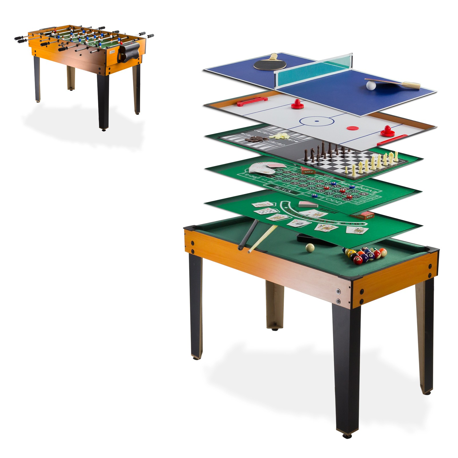 Multi spieltisch 13 in 1 kicker billard bowling tischtennis speedhockey - Table de jeux 5 en 1 ...