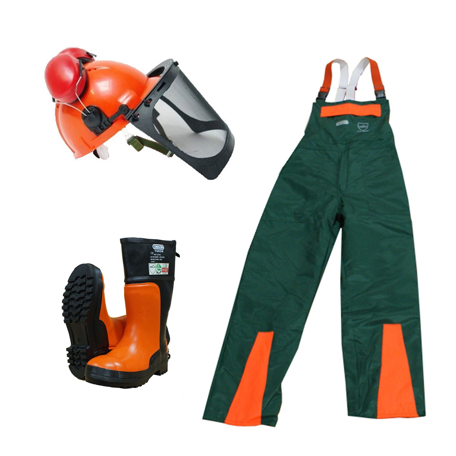 Marken Forst Schnittschutz 3er Set  Helm + KWF-Hose + KWF-Stiefel, Waldarbeit, Forstarbeit, Brennholzaufbereitung, Kettensägen-Schutz, Motorsägen-Lehrgang, Persönliche Schutzausrüstung, ,