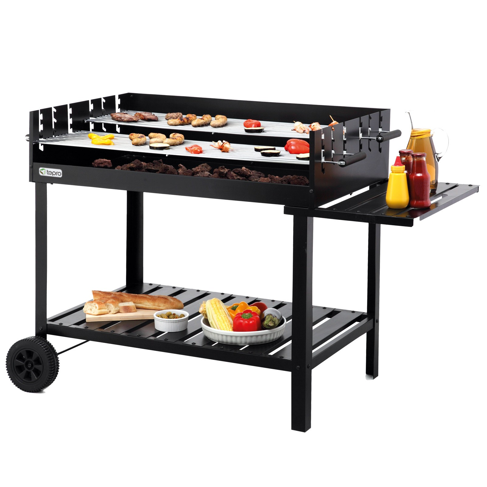 tepro holzkohlengrill kohlegrill bbq grill kohle grillwagen atlanta 4011964029910 ebay. Black Bedroom Furniture Sets. Home Design Ideas