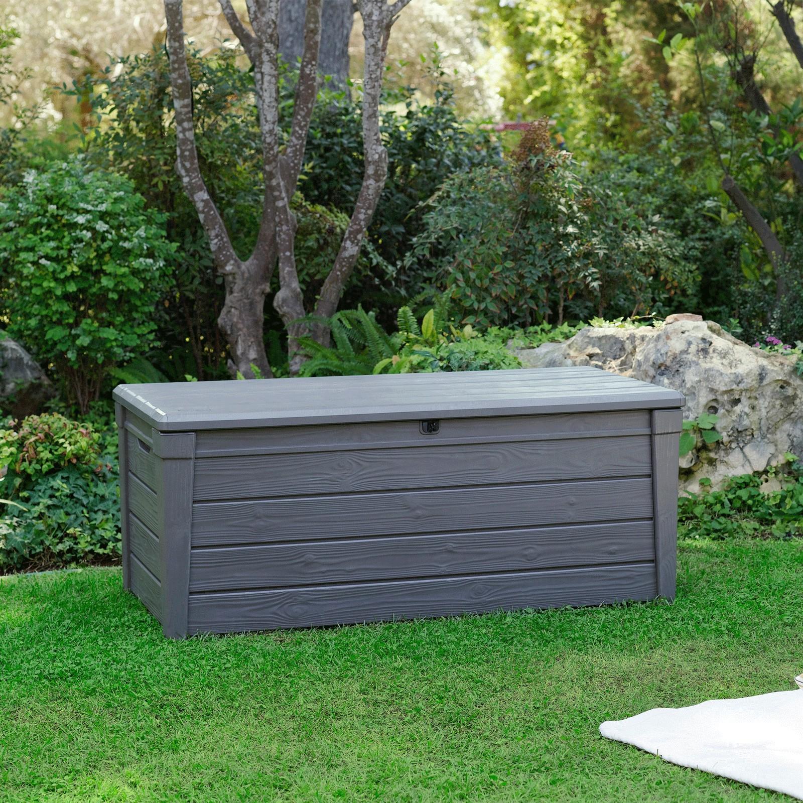 keter garten box aufbewahrungsbox kissenbox auflagenbox brightwood 455 l truhe ebay. Black Bedroom Furniture Sets. Home Design Ideas