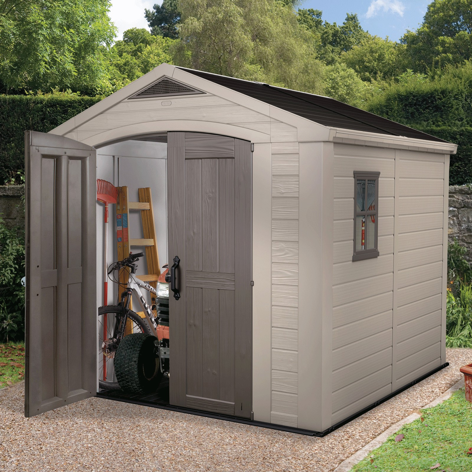 keter kunststoff ger tehaus gartenhaus factor 8x8. Black Bedroom Furniture Sets. Home Design Ideas