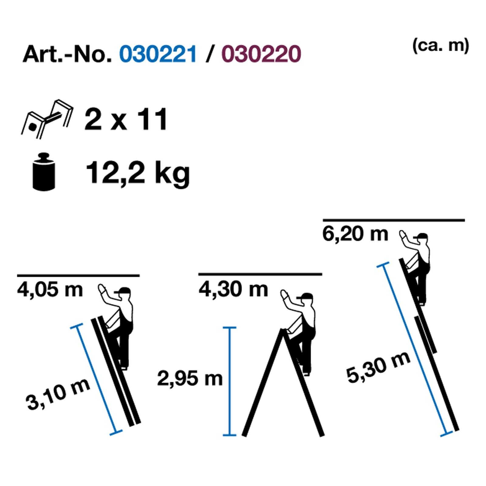 Aluleiter Mehrzweckleiter 2 x 8 Tritte max. 390 cm Schiebeleiter, Anlegeleiter, Schiebeleiter, Anstellleiter, Stehleiter, Teleskopleiter, Sprossenleiter