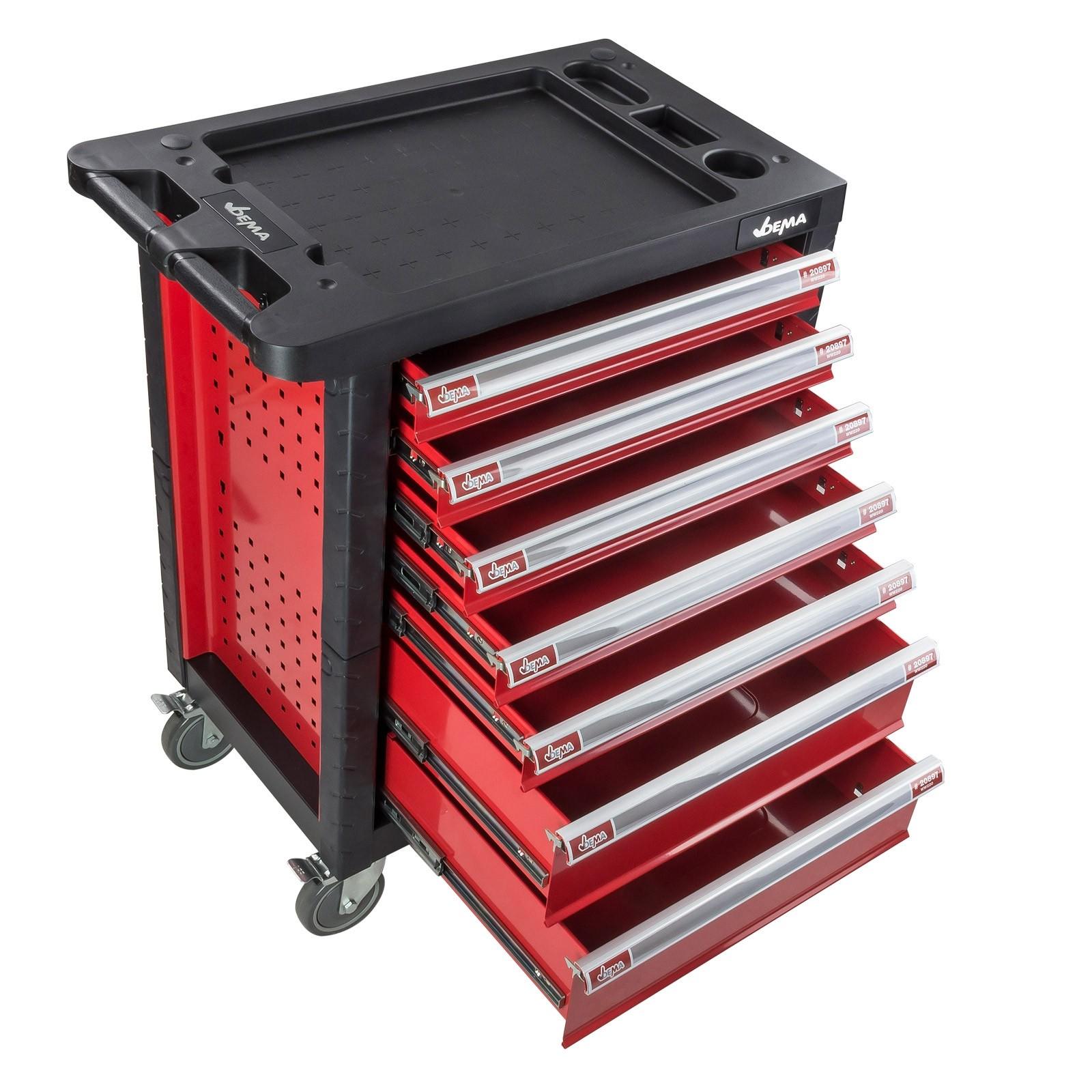 werkstattwagen werkzeugwagen carlos fahrbar mit 7 schubladen 78x46x98 cm. Black Bedroom Furniture Sets. Home Design Ideas