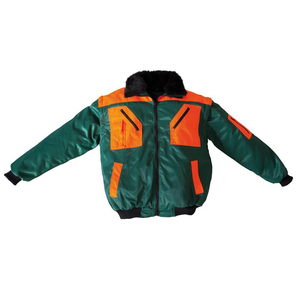 Forstjacke / Waldarbeiter-Jacke Pilot-Style grün-warnorange, Forstbekleidung, PSA-Forst, Schutzausrüstung, Waldarbeit, Holzarbeit, Holz schlagen, Brennholz, , var-forstjacke-pilot