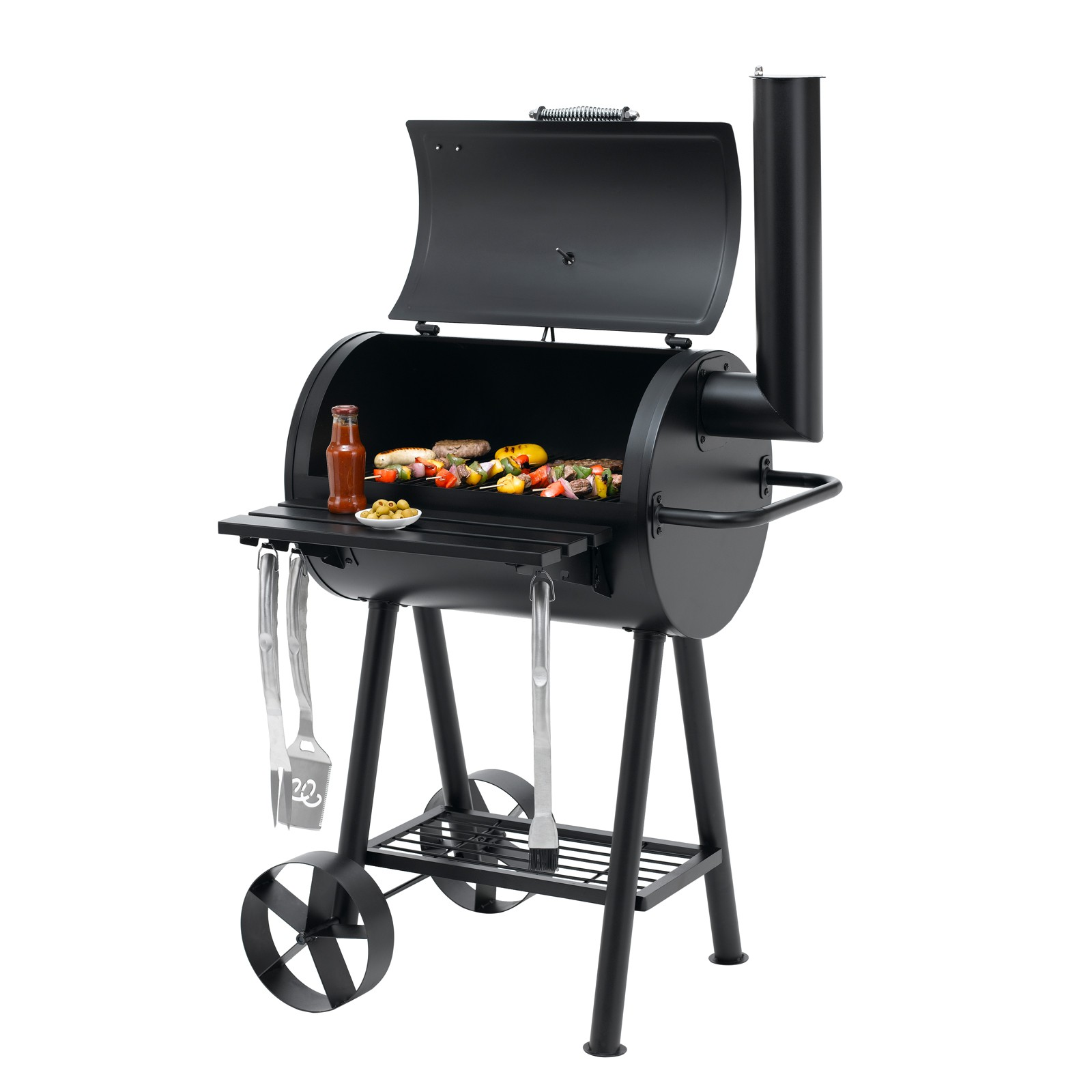 tepro holzkohlegrill grillfass kohlegrill grillwagen smoker berkeley 64 5x43 5cm ebay. Black Bedroom Furniture Sets. Home Design Ideas