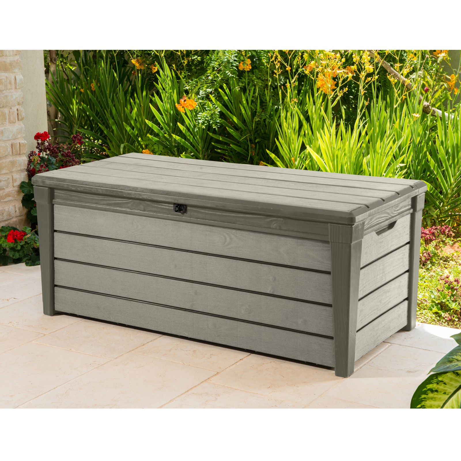 keter auflagenbox kissentruhe brushwood box 455 liter. Black Bedroom Furniture Sets. Home Design Ideas