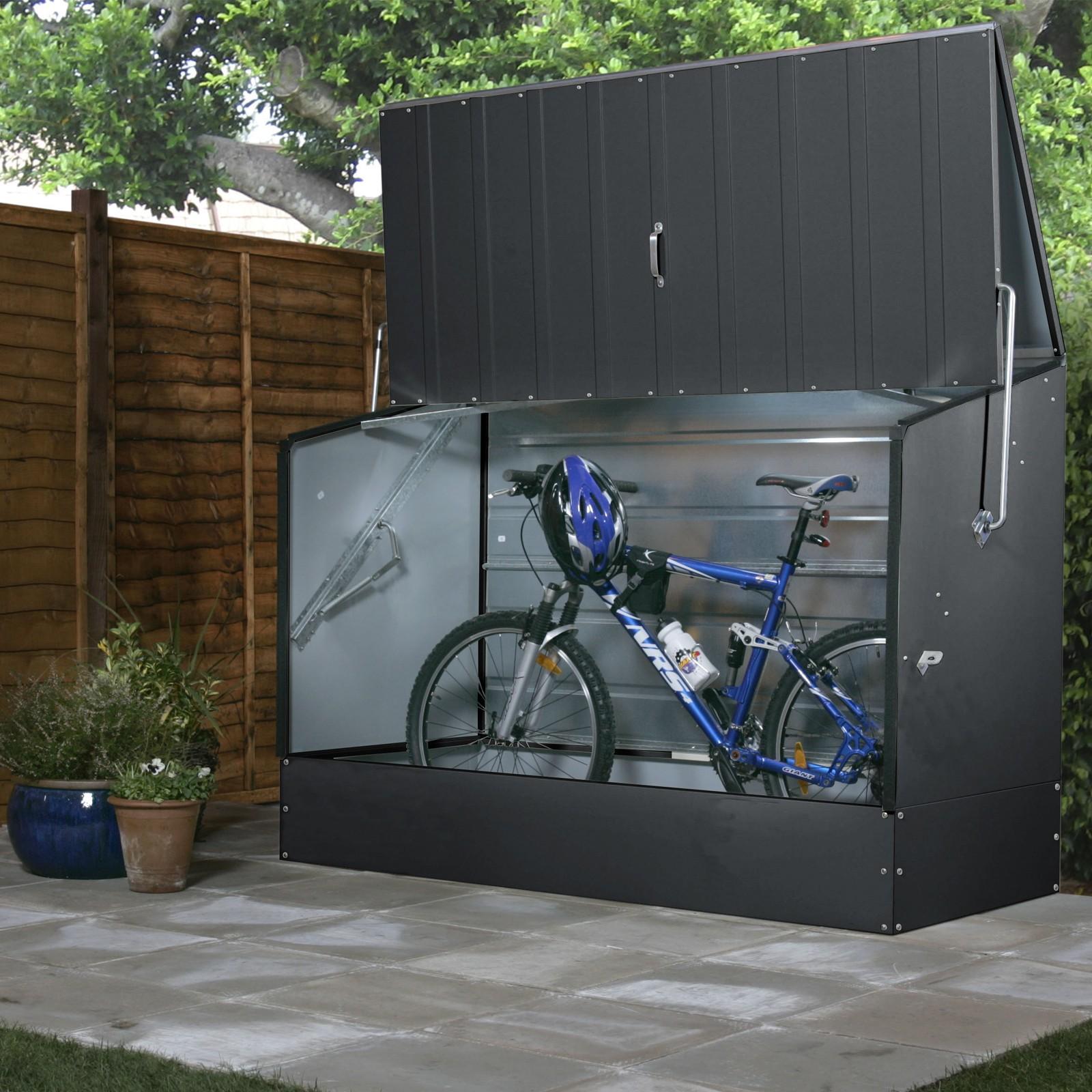 tepro fahrradbox fahrradgarage gartenbox aufbewahrungsbox 196x89x133cm anthrazit ebay. Black Bedroom Furniture Sets. Home Design Ideas
