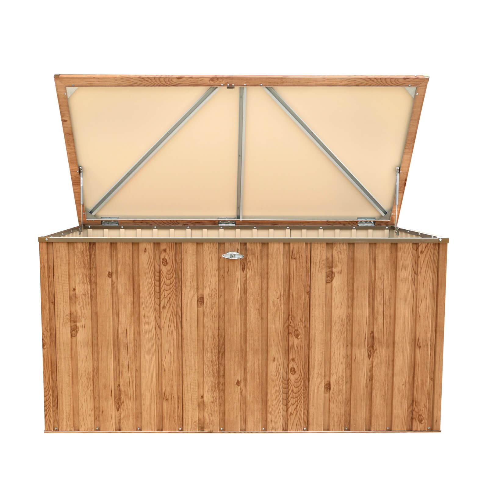 metall ger tebox gartentruhe gartenbox aufbewahrungsbox 190x90 cm holz dekor 638801712459 ebay. Black Bedroom Furniture Sets. Home Design Ideas