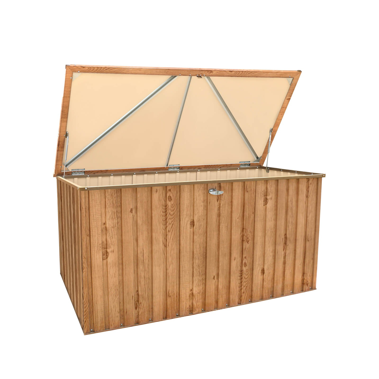 metall ger tebox gartentruhe gartenbox aufbewahrungsbox 190x90 cm holz dekor 638801712459 ebay. Black Bedroom Furniture Sets. Home Design Ideas