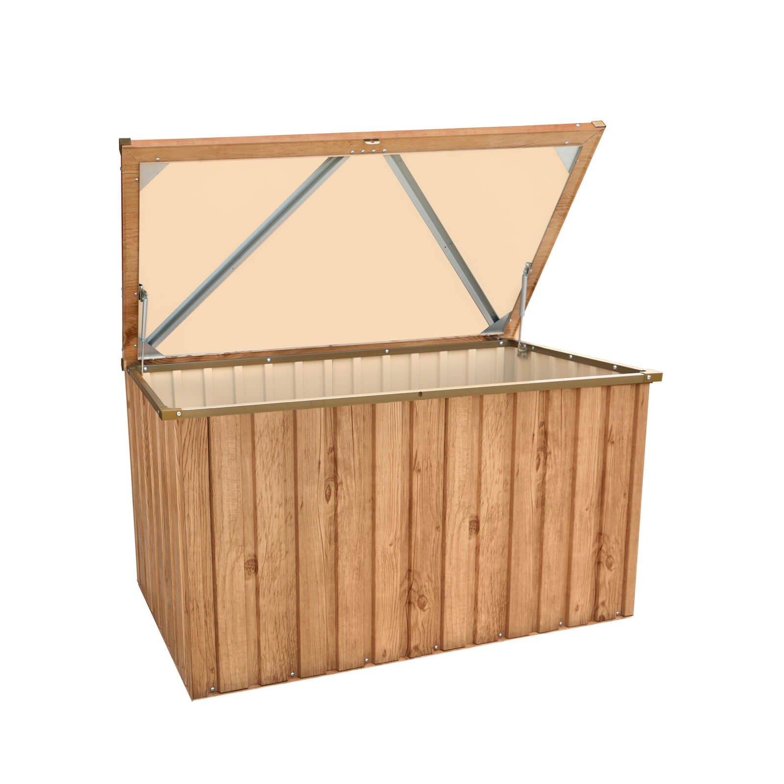 metall aufbewahrungsbox gartenbox kissenbox ger tebox 135x70 cm holz dekor eiche 638801710455 ebay. Black Bedroom Furniture Sets. Home Design Ideas