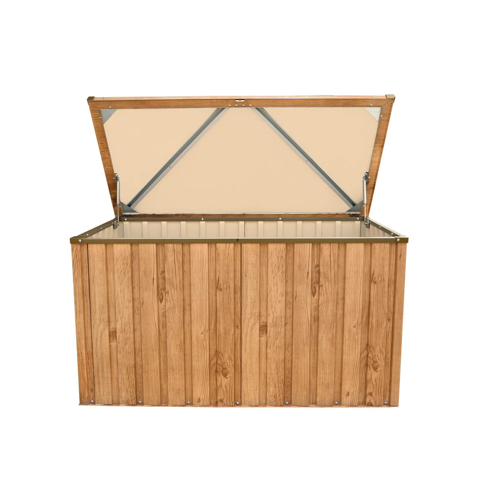 metall aufbewahrungsbox gartenbox kissenbox ger tebox 135x70 cm holz dekor eiche 638801710455 ebay. Black Bedroom Furniture Sets. Home Design Ideas
