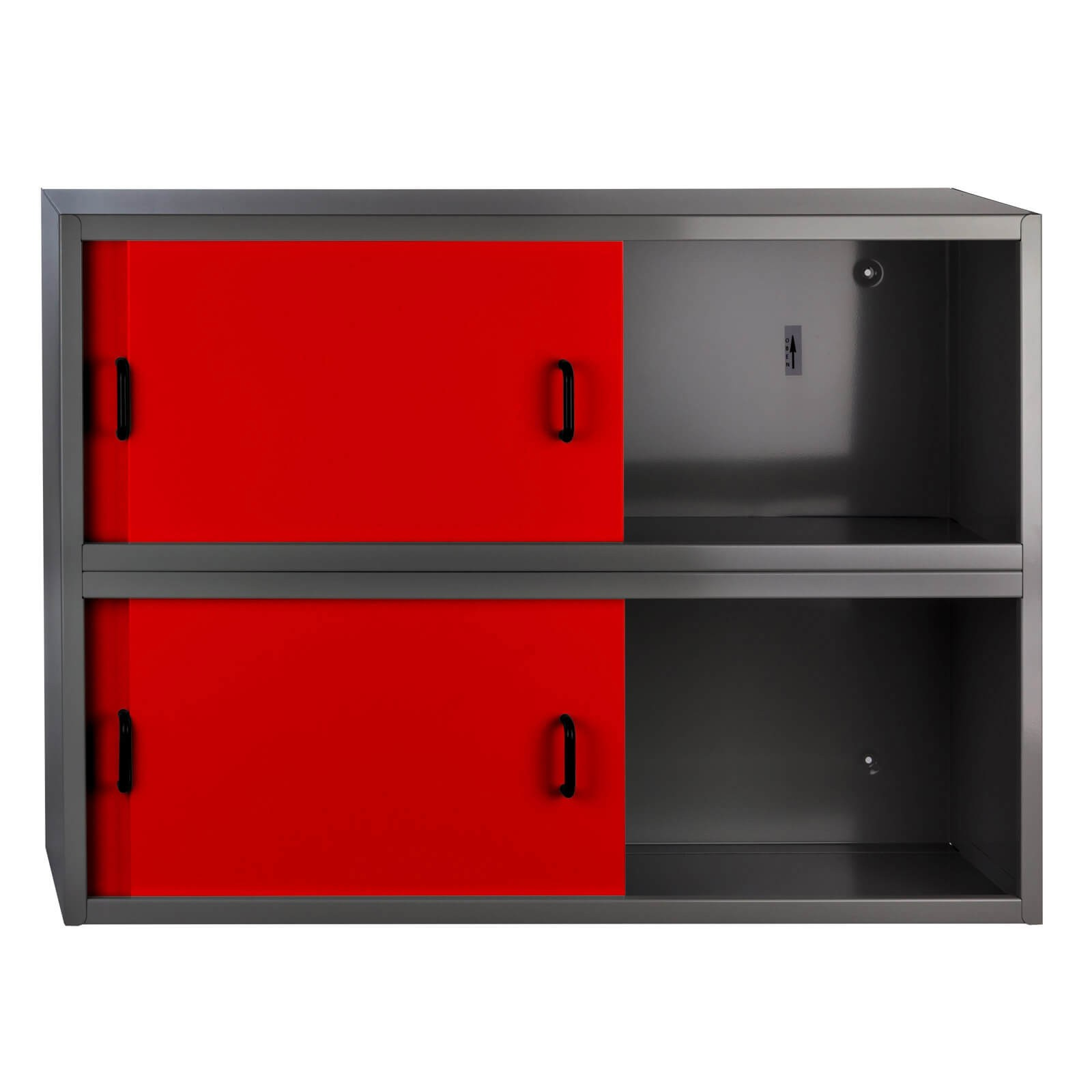metall h ngeschrank wandschrank fernando 4 schiebet ren rot anthrazit. Black Bedroom Furniture Sets. Home Design Ideas