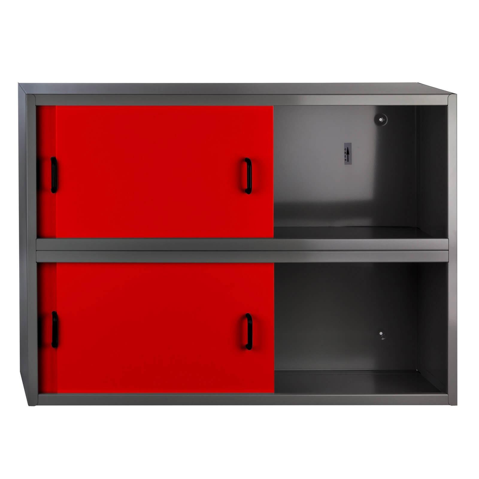 metall h ngeschrank wandschrank fernando 4 schiebet ren rot anthrazit. Black Bedroom Furniture Sets. Home Design Ideas