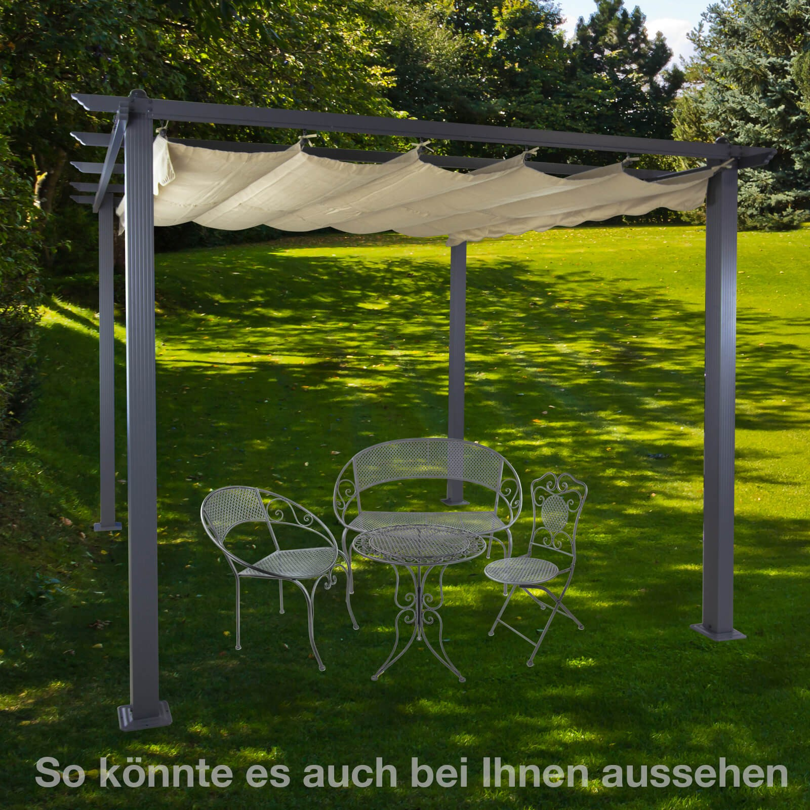 alu pergola garten sonnenschutz freiburg beige. Black Bedroom Furniture Sets. Home Design Ideas