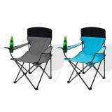 Campingstuhl / Faltstuhl Set grau und blau Getränkehalter Tasche Bild 1