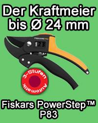 Fiskars PowerStep™ Gartenschere P83 bis Ø24 mm 3-Stufen-Automatik, Gartenwerkzeug, Gärtnerscheren, Amboss, Garten, Gartenpflege, , 6411501116703, 116100
