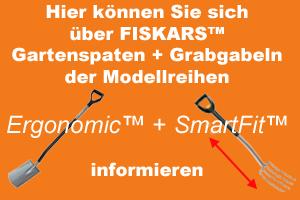 Querverweis zu den Fiskars™ Gartenspaten und Grabgabeln der Modellreihen Ergonomic™ und SmartFit™