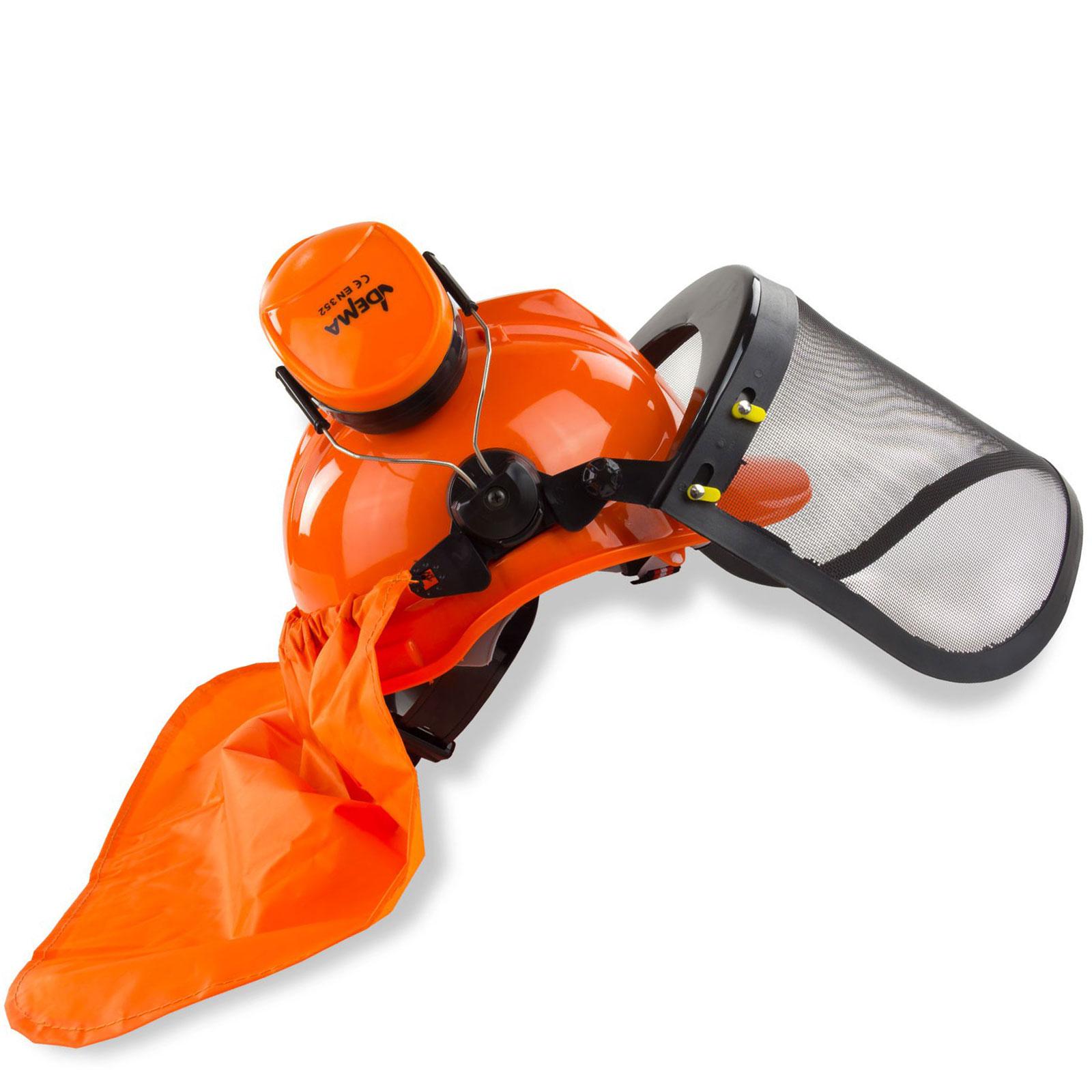 Forsthelm orange mit Gesichtsschutz Gehörschutz Nackenschutz, Waldarbeiterhelm, Forstschutzhelm, Schutzhelm, 4031765302227, 914453