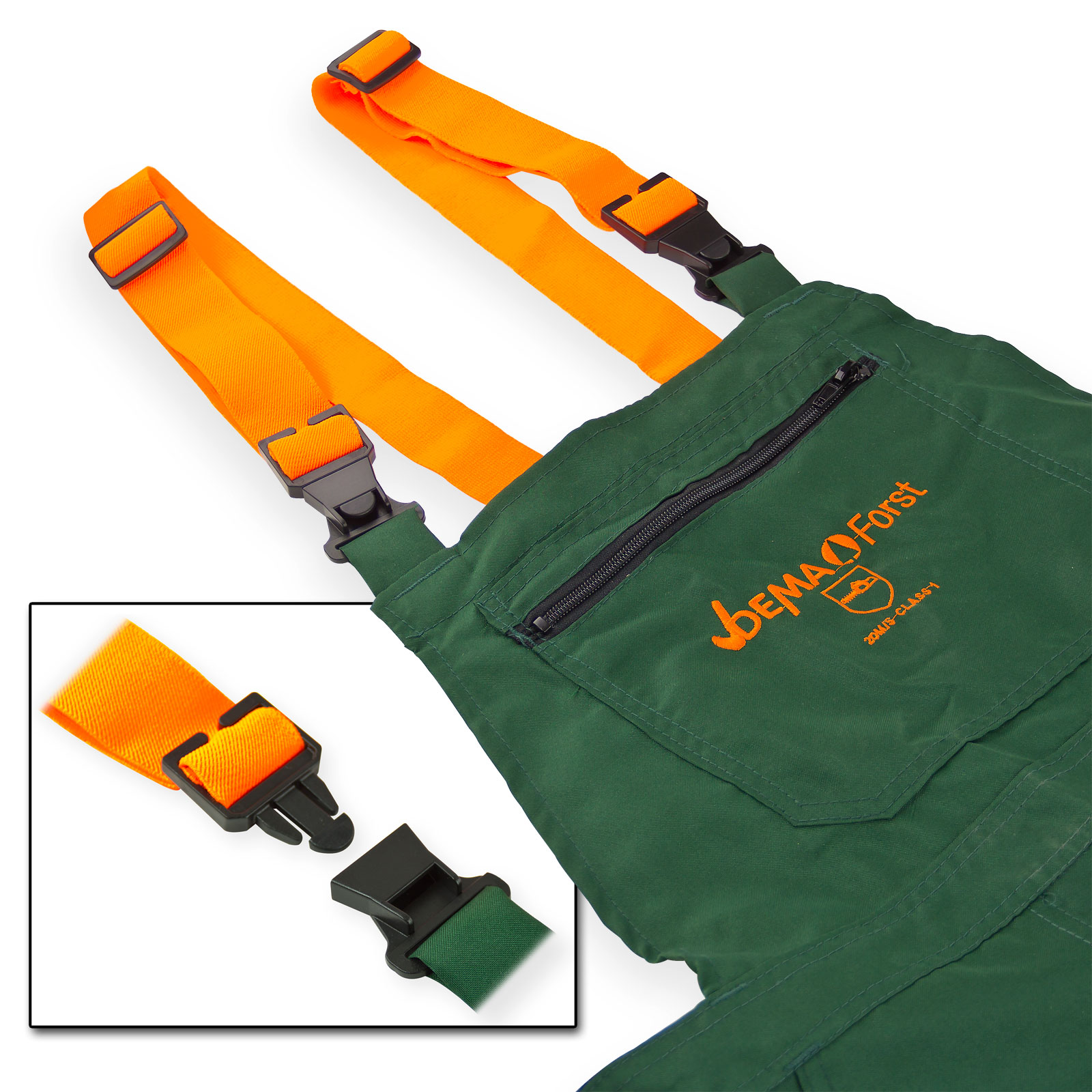 Forst Schnittschutz-Latzhose Eco L grün/warnorange EN 381-5, Schnittschutzlatzhose, Schnitthose, Kettensägenhose, Forsthose, Holzarbeit, 912080, 4031765302388